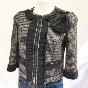 Ann Taylor Ruffled Wool Cropped Jacket